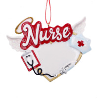 PERSONALIZED NURSE ORNAMENT FROM KURT ADLER HERO COLLECTION VALENTINE THANK YOU