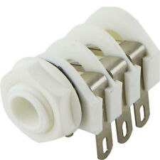 "NEW - Cliff UK White Switched Stereo 1/4"" Jack, External Thread Plastic Nut"