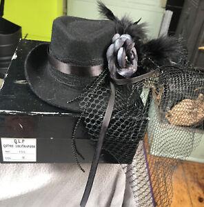 Gothic Lolita&Punk Hat Gothic Whitby Burlesque. PERFECT Boxed Barrette BlackRose
