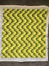 VTG 1970s Op Art Psychedelic Green Gradient Handmade Crewel Yarn Finished Piece