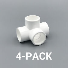 """3/4"""" inch 4-Way Tee PVC Fitting Connector Elbow - 4-Pack - PB0754W-4P"""