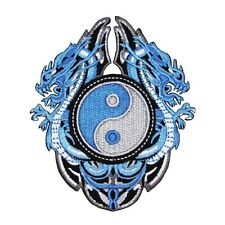 Blue Sapphire Dragon Yin-Yang Patch Cool Chinese Asian Craft Iron-On Applique