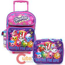 "Shopkins Large School Roller 16"" Trolley Backpack Lunch Bag 2pc Set Bag Besties"