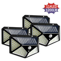 114 LED Outdoor Solar Power Wall Lights PIR Motion Sensor Garden Security Lamps