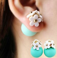 Flower Pearl Ball Stud Earrings Crystal Women Glass Double Sided Fashion Stud