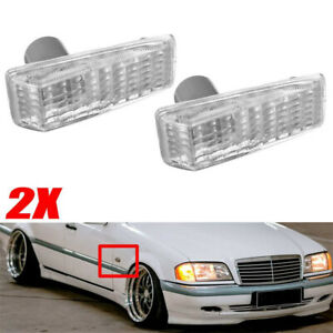2PCS Side Indicator Repeater Lamp Reflector For Benz W124 R129 W140 W202 W201