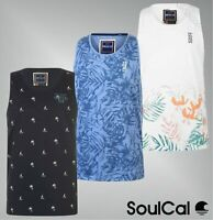 Mens SoulCal Sleeveless Crew Neck All Over Print Tank Top Sizes from S to XXL