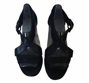 Ecco Black Block Heel Size 38 AU 7.5 Ankle Strap Buckle Open Toe