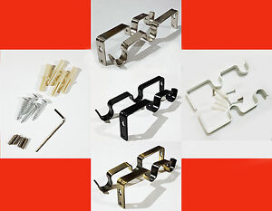 Heavy Duty Metal  Double Curtain Rod/Pole Wall Brackets & Fixings Rod Holder UK