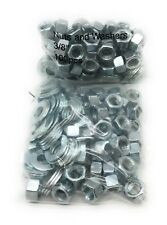 """3/8"""" Zinc Carriage Bolt Hex Nuts(100 pc) & Flat Washers(100 pc) 200 Total Pieces"""