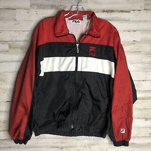 Vintage 90s Fila  Windbreaker Jacket Red & Black Men's Medium Vintage M