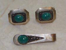 Sterling Silver Cufflinks & Tie Clip Green Eilat Stone, Israel 925 maker's mark