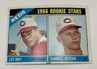 1966 Topps # 424 Lee May Darrell Osteen Rookie RC Baseball Card Cincinnati Reds