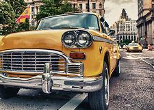 SUPERB RETRO VINTAGE TAXI CAB CANVAS #506 QUALITY A1 CANVAS CAR PICTURE WALL ART