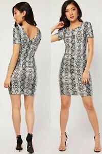 Ladies/Womens Grey/Multi Snakeskin Print,Button Front,Bodycon Dress.Size 8-10-12