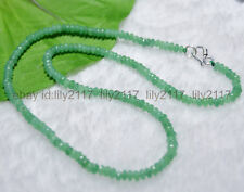 2x4mm Emerald Green Faceted Roundel Gems Beads Necklace Silver Clasp AA