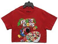 Kellogg's Women's Froot Loops Cereal Logo Licensed Crop Top T-Shirt Red New