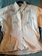NOS ROYAL MOHAN'S BRAND BLOUSE CREAM WITH EMBROIDERY SIZE XL