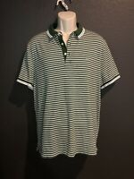 Michael Kors Men's Designer Green Striped 100% Cotton Handsome Polo Shirt Size L