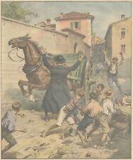 K0129 Parroco Bergamasca salva ragazzi da cavallo imbizarrito - Stampa del 1931
