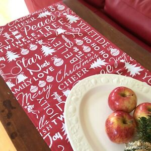 Christmas Table Runner, Subtle Red and White Table Runner,  Christmas Words, Aus