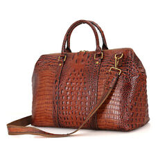 "Mens Genuine Leather Travel Duffel Weekend Gym BAG 17"" Laptop Handbag Messenger"