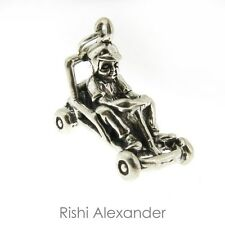 925 Sterling Silver Go Kart Racing Charm Made in USA