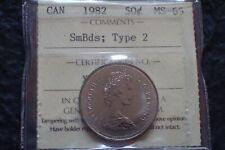 1982,  50 cents,Small beads( type 2 ) rarer,   MS 65,  Certified by ICCS, Canada