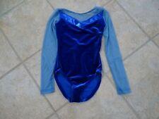 ROYAL BLUE LONG SLEEVE MESH DANCE LEOTARD BALLET VELVET child girls medium 8-10