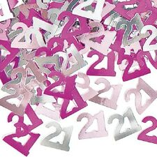 2 PACK 21ST BIRTHDAY CONFETTI PINK TABLE DECORATION IDEAL FOR PARTIES (PINK)