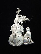 """""""JJ"""" Jonette Jewelry Silver Pewter """"Cello * CAT * Mouse"""" Music Pin"""