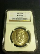 1949 D Franklin Half NGC MS 63 FBL GEM BU Full Bell lines Rim Toned