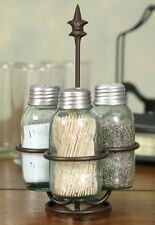 Farmhouse/Cottage/Primitive Mason Jar Salt, Pepper & Toothpick Caddy Holder
