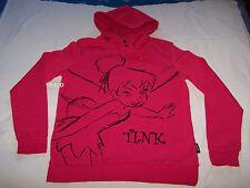 Disney Tinkerbell Ladies Pink Glitter Printed Hoodie Fleece Top Size S New