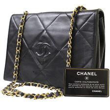 CHANEL Matelasse Quilted Shoulder Bag Black Leather Vintage Italy Auth #7300 M