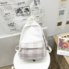 Womens Unisex Beige Check Pink White Tartan Cotton Canvas Bag Backpack Couples