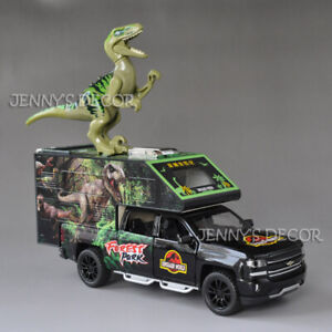 1:32 Rescue Car Pickup Truck Camper Van Model Toy With Dinosaur Action Figure