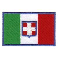 [Patch] ITALIA CON STEMMA SABAUDO cm 9 x 6 toppa ricamata ricamo SAVOIA -263