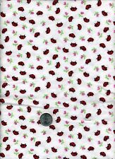 """FLANNEL RARE OUT OF PRINT TOSSED LADYBUGS PINK ROSEBUD FABRIC 42"""" W x 32"""" L"""