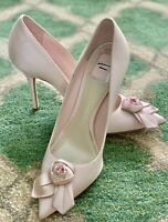 $500+ Christian Dior Rose Blossom Satin Pump Pink 10cm 37