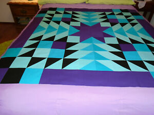 """new quilt TOP unfinished SW STAR """"Bayou Blooms"""" 48.75"""" Turquoise/Aqua/Purple/Bla"""