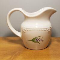 Pfaltzgraff LARALYNN Creamer Pitcher Vintage White Floral Pearl Brocade USA