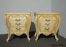 Pair Vintage French Provincial Bombay Bombe Italian Rococo Louis XVI Nightstands
