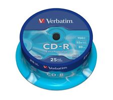 Verbatim 700MB CD-R Blank Discs 52x CD Extra Protection 80 min -25 Pack Spindle
