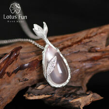 Elegant Natural Crystal Solid 925 Silver Magnolia Flower Pendant for Ladies Gift