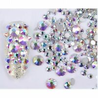 300pcs Mixed 3D Nail Art Rhinestones Glitters Acrylic Tips Decoration Manicure