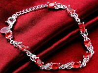 "10.00 CT 18K White Gold Red Created Ruby Women's Tennis Bracelet 7.5"" ITALY"