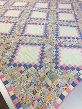 Antique Pink and Blue Jewel Box Quilt 84 x 89