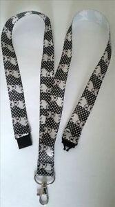 Black French Bulldog ribbon lanyard neck strap breakaway clip ID badge holder
