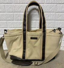 Vintage Eddie Bauer Canvas  Carry On Bag; Leather Straps;  Muiltiple Pockets